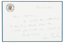 George H.W. Bush Autograph Note Signed as Vice President -- ...I wrote the attached to the kid that drew the card you sent me. Loved it...