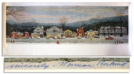 Master of Americana, Norman Rockwell Signed Print of His Well-Known Piece Stockbridge Main Street at Christmas