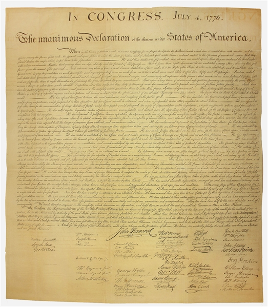 Peter Force Declaration of Independence 1843 Force Declaration of Independence From Original Copper Plate -- Beautiful Copy
