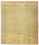 1843 Force Declaration of Independence From Original Copper Plate -- Beautiful Copy