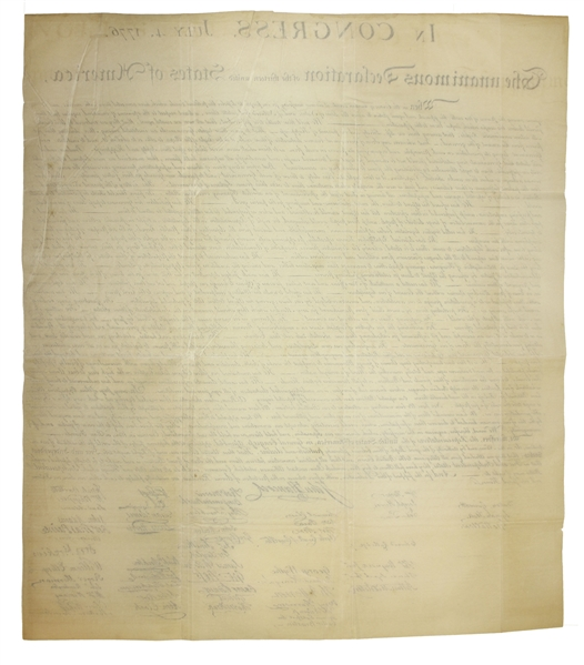 William Stone Declaration of Independence 1843 Force Declaration of Independence From Original Copper Plate -- Beautiful Copy