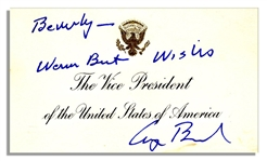 George Bush Signed VP Card as Vice President -- Inscribed, Warm Best Wishes