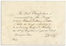 Queen Victoria 1864 Invitation to Buckingham Palace