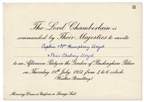King George VI & Queen Elizabeth Buckingham Palace Invitation -- ...to an Afternoon Party in the Garden...