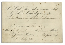 King William IV 1833 Invitation to Dinner at St. Jamess Palace