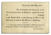 King George I Birthday Celebration Ticket From 1832
