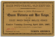 Queen Victoria Diamond Jubilee Concert Ticket From 1897