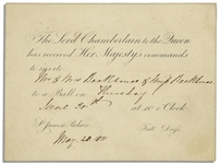 Invitation to a Royal Ball Held at King William IV & Adelaides St. James Palace