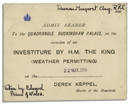 King George V Ticket to His 1919 Investiture at Buckingham Palace