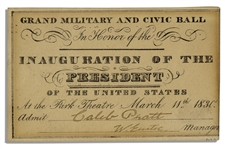 Ticket to Grand Military & Civic Ball From 1830 -- Ball Honored The Inauguration of Andrew Jackson One Year Earlier
