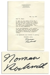 Norman Rockwell Typed Letter Signed -- ...I am very sorry but I have had to make a rule not to have visitors at my studio...