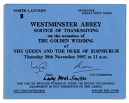 Ticket to Queen Elizabeth IIs Golden Wedding Anniversary Celebration -- Issued to the Queens Lady-in-Waiting