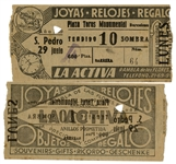 Ernest Hemingways Own Bullfighting Ticket From 29 June 1959 -- From the Plaza Toros Monumental in Barcelona, Spain -- Hemingway Wrote About the Bullfights of 1959 in His Final Book