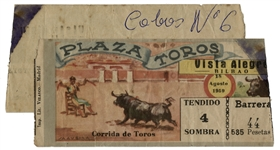 Ernest Hemingways Own Bullfighting Ticket From 18 August 1959 -- From the Plaza Toros in Bilbao, Spain -- Hemingway Wrote About the Bullfights of 1959 in His Final Book
