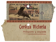 Ernest Hemingways Own Bullfighting Ticket From 4 August 1959 -- From the Plaza de Toros de Malaga -- Hemingway Wrote About the Bullfights of 1959 in His Final Book