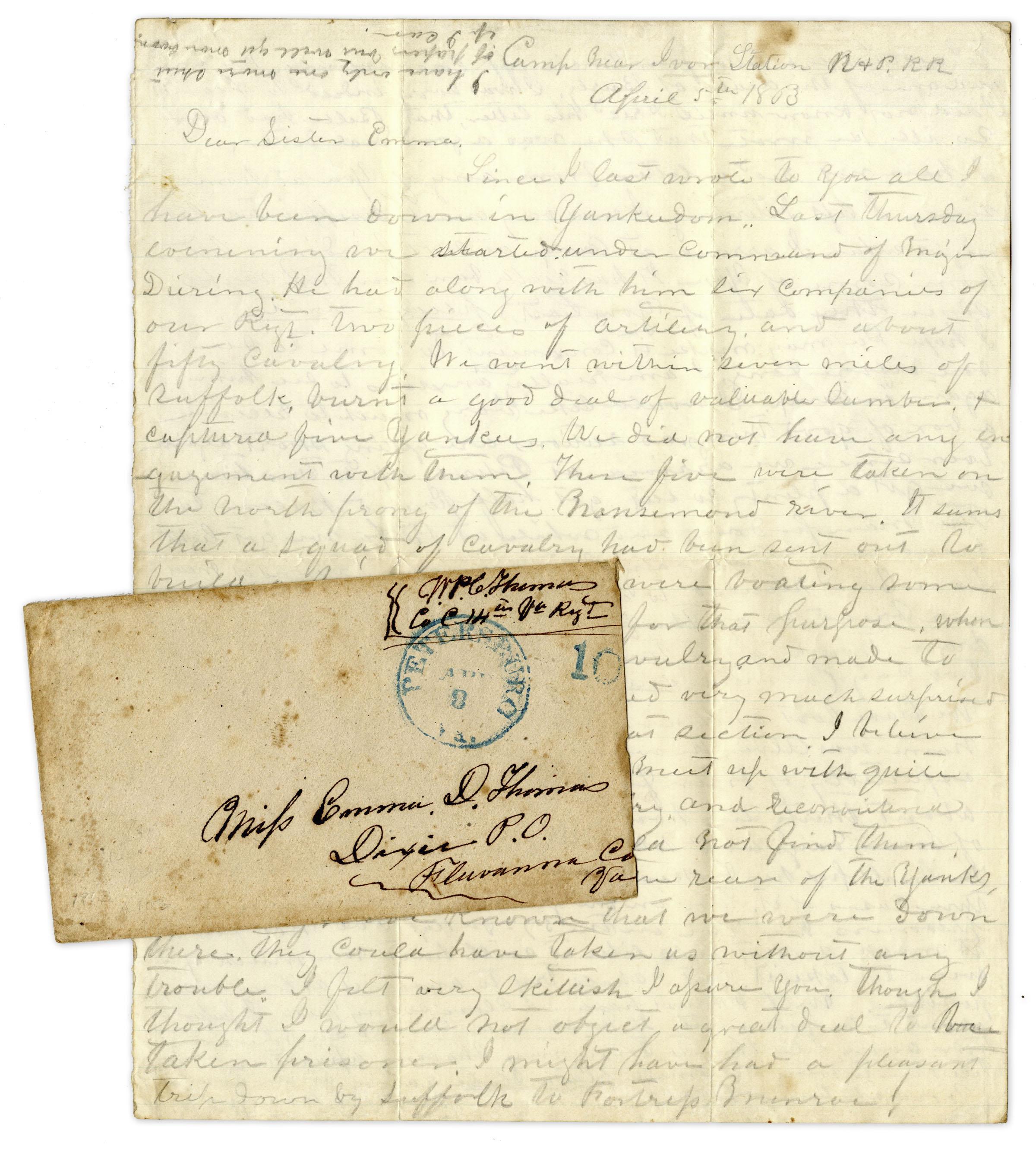 Lot Detail - Civil War Letter by 14th Virginia Infantryman ...