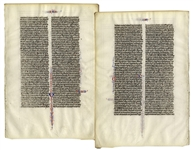 Medieval Bible Manuscript Leaf on Vellum -- From 13th Century