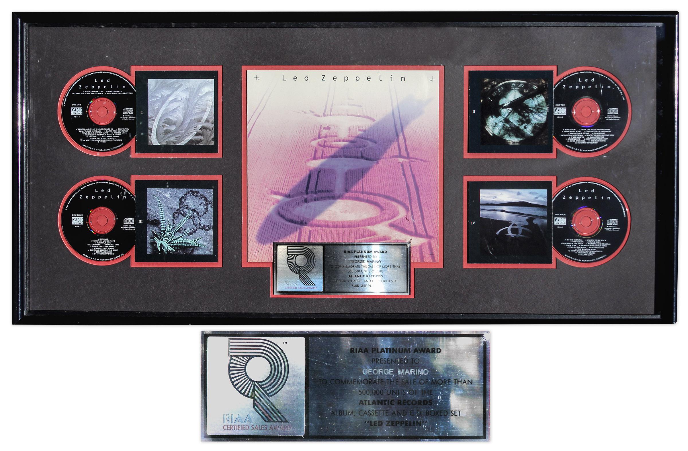 Lot Detail Led Zeppelin Riaa Platinum Record Award For