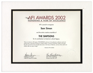 AFI Certificate Given to The Simpsons Co-Creator Sam Simon -- From the Sam Simon Estate
