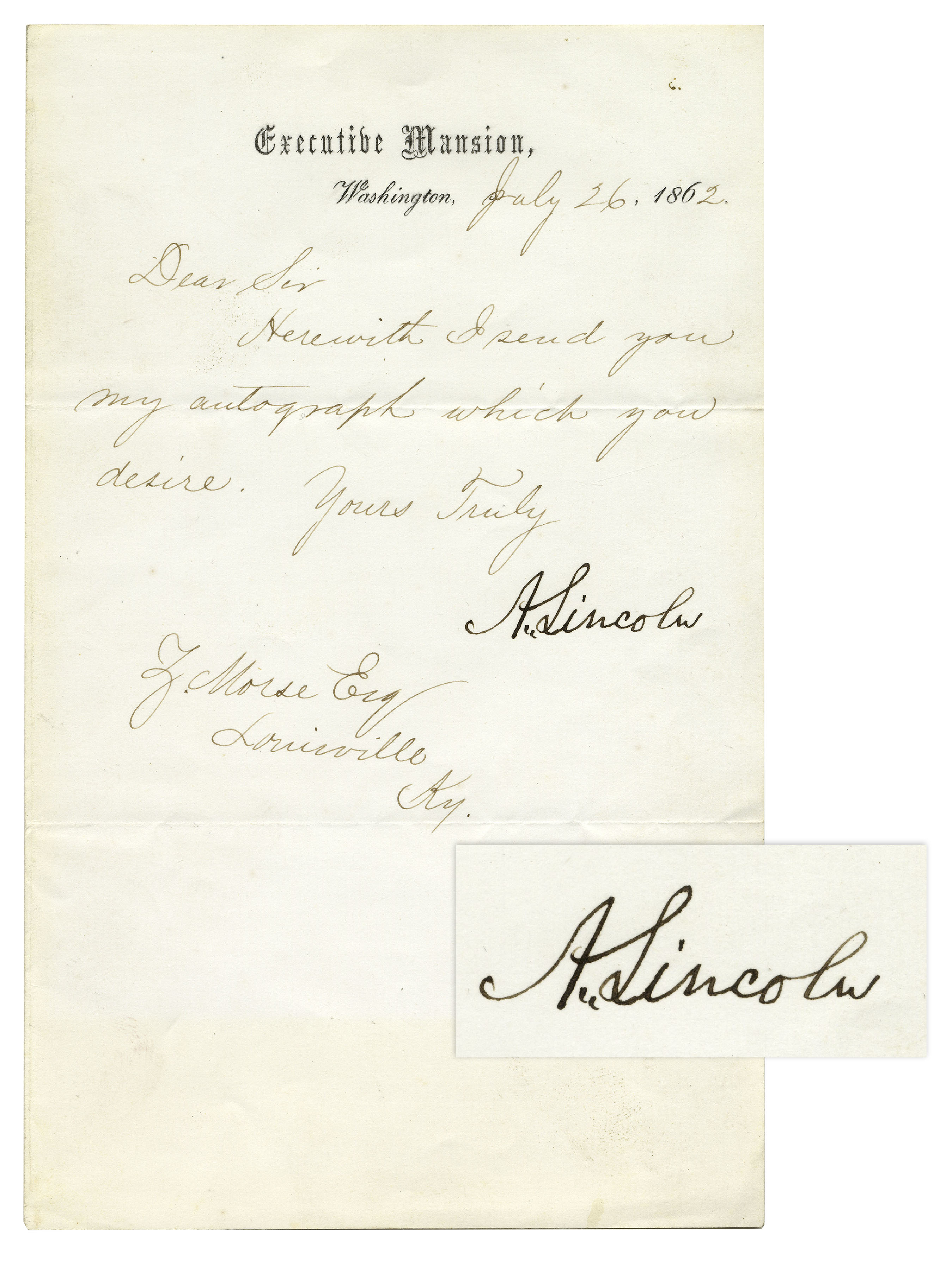 abraham lincoln letter signed as president written on executive mansion stationery