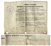 Andrew Jackson 1834 Naval Appointment Signed as President