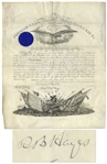 Rutherford B. Hayes Large Document Signed as President