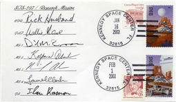 Excellent STS-107 First Day Cover -- Signed by Each of the Astronauts From the Tragic 2003 Mission