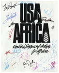 Historic USA for Africa Poster Signed by 19 Musical Artists From the 1985 Charity Single We Are The World -- Including Michael Jackson, Billy Joel & Stevie Wonder