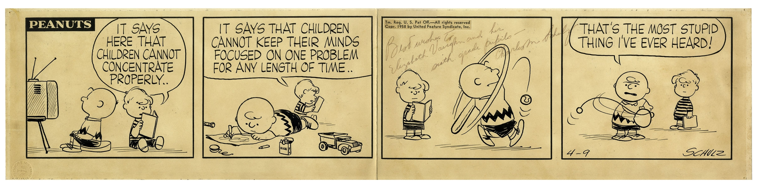 Charles Schulz Hand-Drawn ''Peanuts'' Strip From 9 April 1958 -- With Charlie Brown & Schroeder
