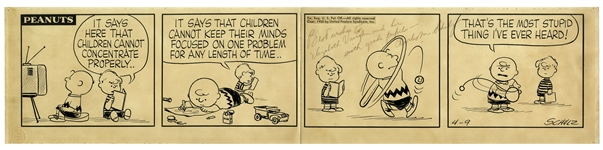 Charles Schulz Hand-Drawn Peanuts Strip From 9 April 1958 -- With Charlie Brown & Schroeder