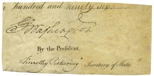 George Washington Signature as President -- With University Archives COA