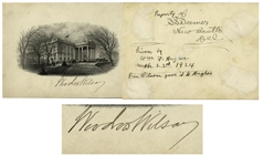 Woodrow Wilson Signed Engraving of the White House