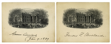 Grover Cleveland & Frances Cleveland Signed Pair of White House Engravings