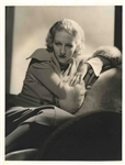 Double-Weight MGM Image of Karen Morley by George Hurrells Studio -- Verso Stamped by Hurrell -- 10 x 13 -- Near Fine