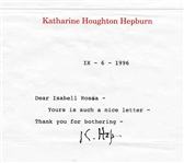 Katharine Hepburn Typed Letter Signed -- ...such a nice letter...Thank you for bothering... -- 1996