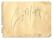 Actor & U.S. Senator George Murphy Signature -- in Pencil on 5.75 x 4.25 Album Page -- Very Good Condition