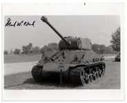 General Mark Clark 10 x 8 Glossy Signed Photo of a WWII Tank -- Near Fine