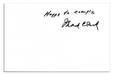 WWII General & Citadel President Mark Clark Signature on 8.5 x 5.5 Sheet -- Happy to comply, Mark Clark -- Near Fine