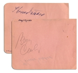 Bing Crosby & Thomas Mitchell Each Sign a Side of a 5.75 x 4.5 Album Page -- Crosby in Pencil, Mitchell in Pen -- Very Good