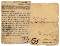 1944 Autograph Letter Signed From Sachsenhausen Concentration Camp Prisoner -- ...I ask the dear God to protect you...
