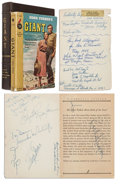 Elizabeth Taylor Costume Auction Incredible Crew-Signed Copy of ''Giant'' -- Signed by the Movie's Director & Cast Including James Dean, Elizabeth Taylor, Rock Hudson & More