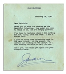 Joan Crawford Typed Letter Signed -- ...Ive been Barbados where I did nothing but eat, sleep, read and swim. I had a divine rest... -- 1961
