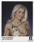 Playboy October 2002 Centerfold Teri Harrison Signed 8 x 10 Photo -- Near Fine