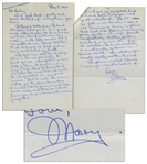 Mary Astor Autograph Letter Signed -- To Her Agent, Regarding Her 1968 Novel, A Place Called Saturday