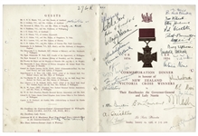 1956 Victoria Cross Winners Signed Commemoration Dinner Menu -- Includes Charles Upham, James Crichton & Samuel Frickleton