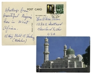 Malcolm X Autograph Note Dual-Signed as el-Hajj Malik and Malcolm X -- ...Greetings from beautiful Nigeria...