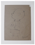 Charles Schulz Hand Drawn Portrait of Charlie Brown From 1955 -- Measures a Very Large 18 x 24