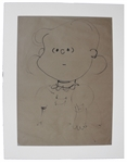 Charles Schulz Hand Drawn Portrait of Lucy From 1955 -- Measures a Very Large 18 x 24