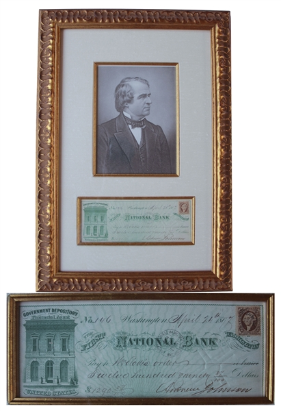 President Signed Checks Andrew Johnson Check Signed as President