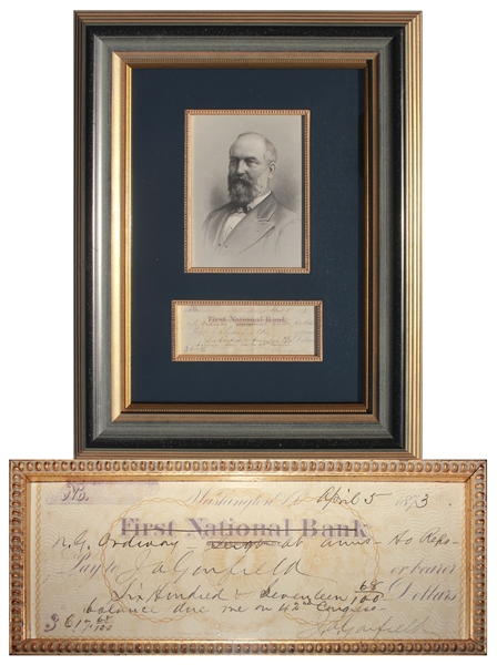 President Signed Checks James Garfield Twice-Signed Check